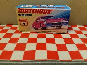 Matchbox Lesney Superfast  No5  Lotus Europa EMPTY REPRO BOX ONLY NO CAR