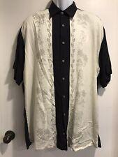 Moda Campia Men's Short Sleeve, Shirt Black & Ivory Tropical M 100% Rayon