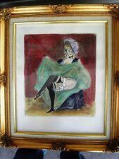 """BERTHOMME SAINT-ANDRE (1905-1977) """"Dancer French Cancan"""" Eau forte aquarellée"""