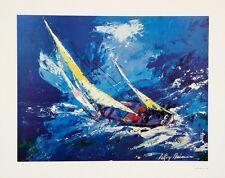 LeRoy Neiman SAILING Lithograph HAND SIGNED offset litho art blue sea NAUTICAL