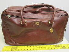 French Luggage Co. Brown Leather Duffel carry-on travel bag Luggage suitcase 22""
