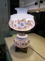 Large Hand Painted Blue Floral Gone With The Wind Lamp 27 ""