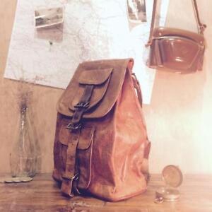 Men Bag Laptop Shoulder Messenger Leather Satchel Leather School Vintage Backpak