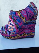 Pink Blue Yellow Pattern High Heel Wedge Shoe Size 7