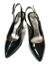 SOFFT Womens Black Slingback Heels Pumps Size 7.5 W Patent Leather