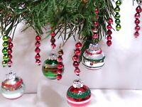 Mercury Glass Bead Icicle 10 CHRISTMAS Ornaments SHINY BRITE Red Green RADKO