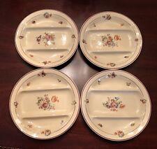"""4 Rare Vintage Salins Granit France Floral Divided 9"""" Plates Red Trim"""