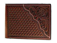 Nocona Mens Pro Series Western Wallet Bi-fold Tooled 6 Credit Card Leather Brown