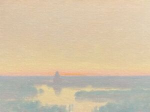 High Key Grey Day Realism Landscape OIL PAINTING ART IMPRESSIONIST Original Lake