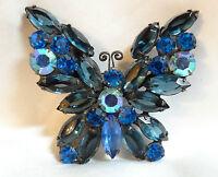 Vintage D&E Juliana Butterfly Dark Blue Royal Blue Crystal Rhinestone Brooch