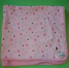 "Carter's Just one Year 100% Cotton Baby Blanket Pink & Teal Flowers ""I Love You"""