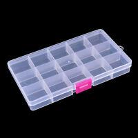 Caja de trastos de pesca de plástico visible de 15 compartimen_ws