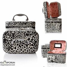 PU Leather Black Leopard Print Cosmetic Storage Box Makeup Beauty Vanity Case