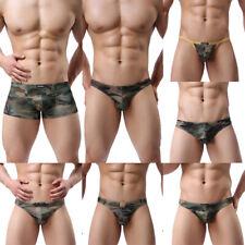 Men's Camouflage Boxer Underwear Underpant Thongs Bikini T-back Jockstrap Shorts
