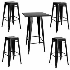 AmeriHome Loft Glossy Black Metal Pub Set - 5 Piece
