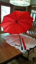 Victorian Oscar Nailon Red Parasol Umbrella with Jeweled Handle & Cover-LOOK !!