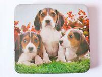 Mid Century Cadbury Chocolates Dog Tin, 1950s, Hinged 2 lb Tin, Beagle Puppies