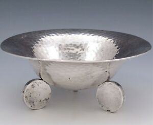 POLISH SILVER HAND HAMMERED ARTS & CRAFTS BOWL
