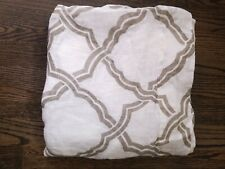 "POTTERY BARN PANEL Linen CURTAIN 50""x 96"" Panel White Neutral Geometric"