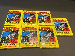 1979 TOPPS UNOPENED~LOT OF 7 WAX PACKS~BATTLESTAR GALACTICA CARDS~FREE SHIP