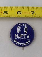 Vintage NJPTV Montclair Public Television New Jersey pin button pinback *EE78