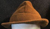 Vintage Brown Corduroy Fedora or Trilby Style  Hat with Feather size 7 1/4