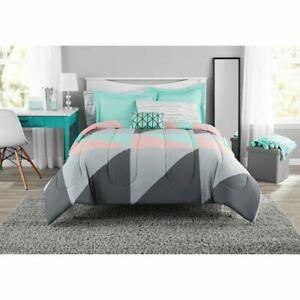 Mainstays Grey & Teal Bed in a Bag Bedding Set with BONUS Sheet Set, Queen
