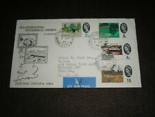 1964 GB stamps GEOGRAPHICAL CONGRESS FDC Air Mail HEMEL HEMPSTEAD Cancels to USA