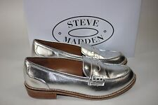 NIB STEVE MADDEN Size 7.5 Women's Silver CYYLO Stacked Heel Penny Loafer Oxford