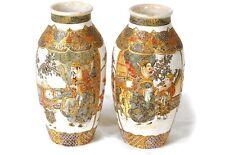 Paire vases porcelaine Satsuma Japon personnages jardin dorure XIXème