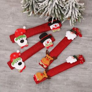 4PCS Xmas Refrigerator Door Handle Cover Christmas Microwave Oven Protect Glove