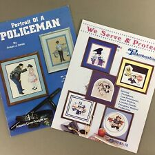 Lot of 2 Counted Cross Stitch Charts honor Police Firefighter Postman EMT & more
