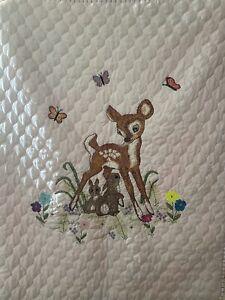 Handmade Baby Girl Quilt Bambi Deer FINISHED Shower Gift Bunny Rabbit Pink