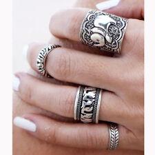 4Pcs New Bohemian Vintage Women Silver Elephant Turquoise Finger Rings Punk Ring