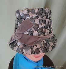 "Cute Vintage 50's 60's Shades of Gray Straw Bucket Hat w Velvet Bow 21"" Inside"