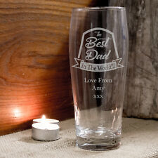 Best Dad Personalised Engraved Beer Pint Glass Birthday Christmas Gift