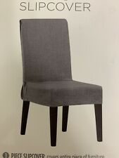 2 New SureFit Mason Short Dining Room Chair Slipcover - Grey chair covers