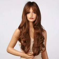 Cosplay Long Wavy Wig Ombre Black Dark Brown Wine Red Synthetic Hair accessories