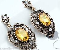 1 Pair Elegant Yellow Crystal Rhinestone  Ear Drop Dangle Stud long Earrings 202