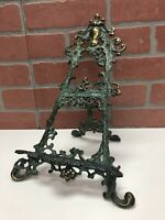 Vintage Ornate Brass Easel Stand Books Recipes Photos Paintings w Patina