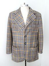 Vtg 70s SUPERFLY Blue Gold Houndstooth Check Poly Knit Disco Pimp Blazer 40