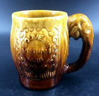 Rare 1968 Vietnam Souvenir Majolica Ceramic Mug Elephant Handle Awesome 4 3/4""