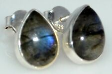 Sterling 925 SILVER Shiny Natural LABRADORITE Stud Earrings, Pear drop Gemstones