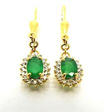 Genuine  Emerald diamonds halo Drop  earrings in 14k Yellow gold