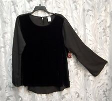 BLACK CREPE CHIFFON VELOUR BELL SLEEVE HI/LO BOHO TOP BLOUSE SHIRT~XXL~20~NEW