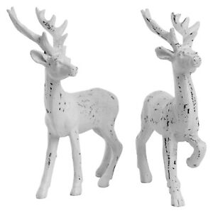 2 Stag Christmas Ornaments Free-standing 14cm White  Reindeer Decoration