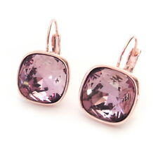 Dusty Pink on Rose Gold Plated Crystal Drop Earrings w/ 12mm Cushion Swarovski