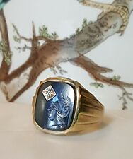 Hematite Spartan Intaglio Diamond Size 11 Vintage Mens 10k Yellow Gold Ring