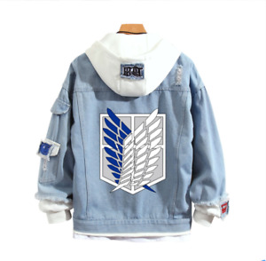 Anime Attack on Titan Hoodie Denim Jacket Coat Sweatshirt Hooded Cosplay Costume