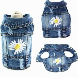 New Jeans Pet Dog Costume Chihuahua Puppy Teddy Cat Dog Clothes  Denim Dog Vest